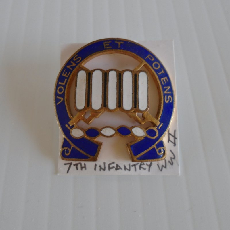 7th US Army Infantry pre WWII DUI insignia pin. Volens ET Potens logo. Estate purchase.