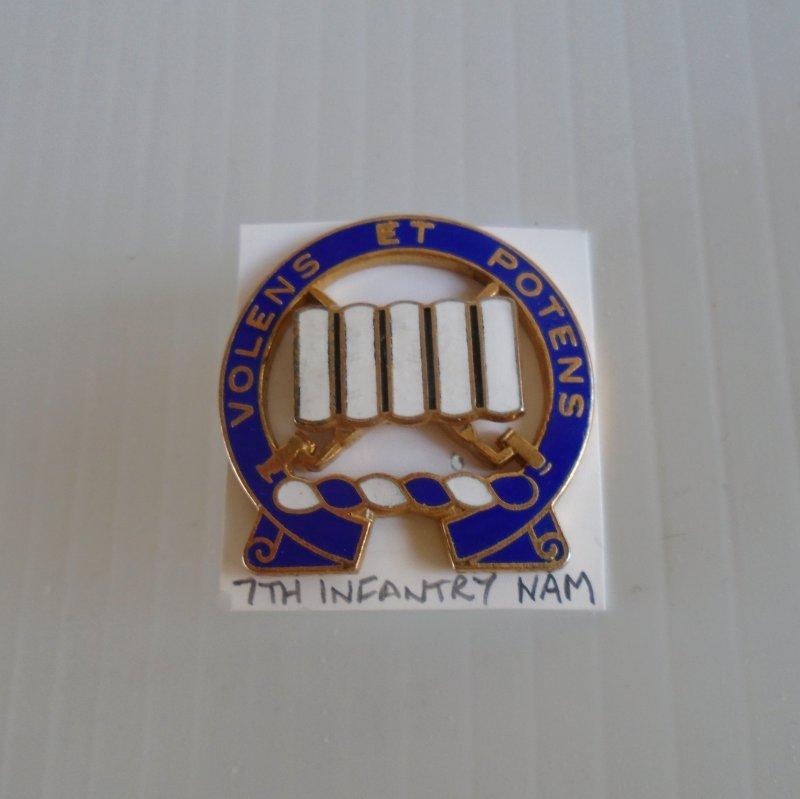 7th US Army Infantry Vietnam era DUI insignia pin. Volens ET Potens logo. Estate purchase.