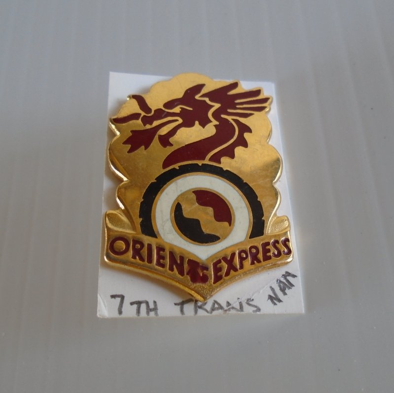 7th US Army Transportation Battalion Vietnam era DUI insignia pin. Orient Express logo. Estate purchase.