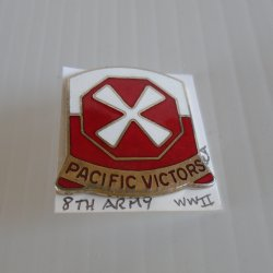 8th U.S. Army DUI Insignia Crest Pin, WWII and Korea