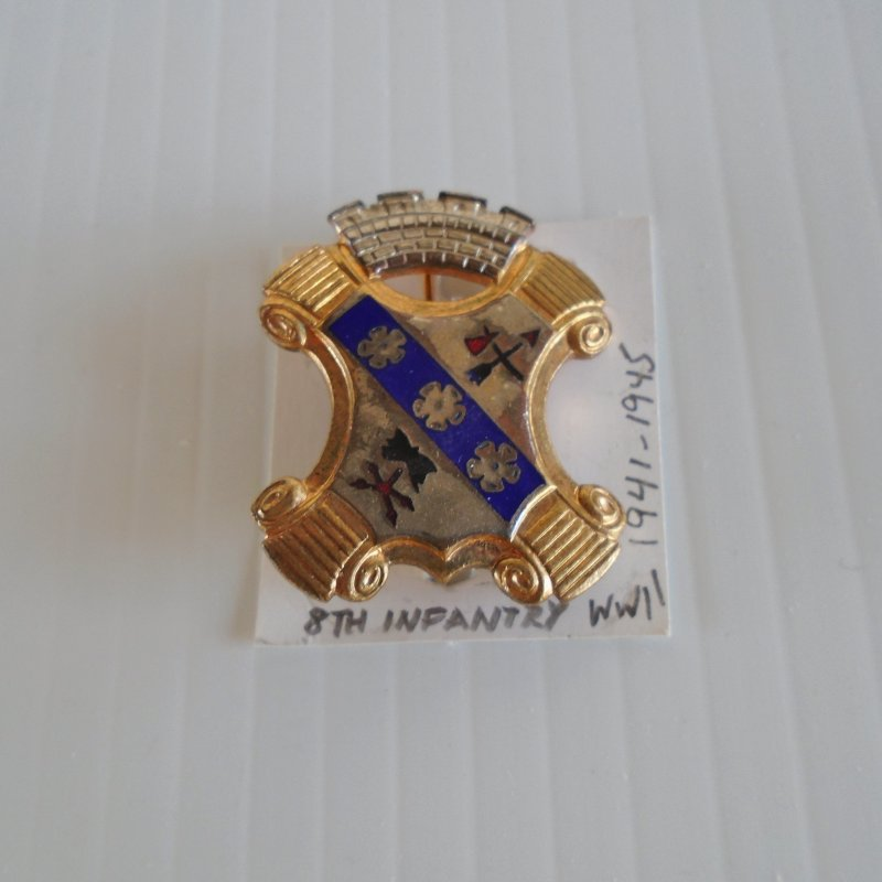 8th US Army Infantry 1941-1945 WWII era DUI insignia pin. C type pin back closure. Gemsco hallmark. Estate purchase.