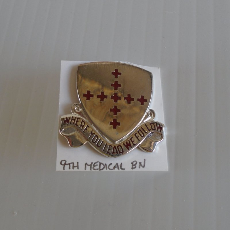 9th US Army Medical DUI insignia pin. Shows the motto of Where You Lead, We Follow'.  Estate purchase.