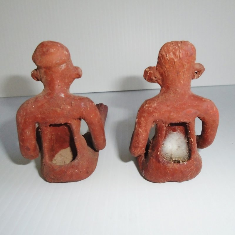 Nude couple set of clay pipes. Back area where tobacco would be packed in. Central America, believed to be 1950s or earlier. Estate find.