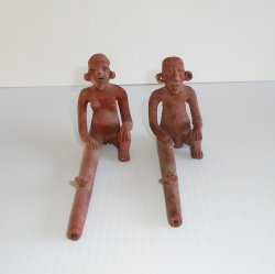 Nude Couple Clay Smoking Pipes, Vintage, Possibly Aztec