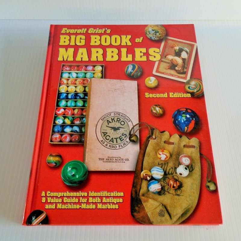 Everett Grist's Big Book of Marbles research book. 189 pgs hundreds of color photos. Values. Rare, antique, art glass, comic, agate, clay, and mo