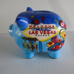 Las Vegas Pig Piggy Bank, Hand Painted, Colorful, 2003