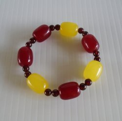 USC Trojans Spirit Bracelet, 4 Red 3 Yellow Lrg Glass Beads