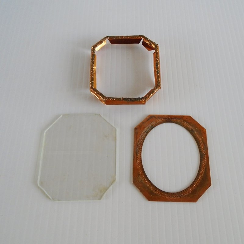 Mid to late 1800s handmade copper picture frame, frame, cover, glass insert.