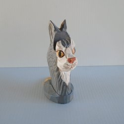 Peepers Carved Cat Head Eyeglass or Business Card Holder