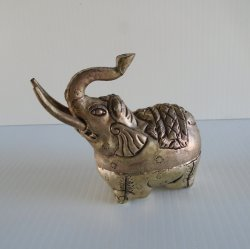 Elephant Trinket Box, Hand Made Metal, Vintage Cambodia