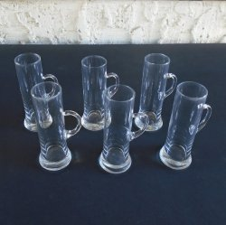Cordial Mug Style Glasses, Set of 6, Mid-Century