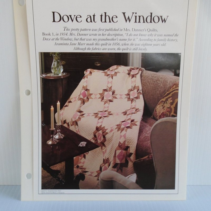 Quilting pattern and actual size template to make the quilt 'Dove at the Window'. With info on sizes, colors, how many pieces to make, placement, etc