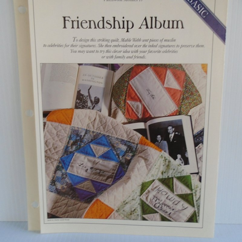 Quilting pattern and actual size template to make the quilt 'Friendship Album'. With info on sizes, colors, how many pieces to make, placement, etc