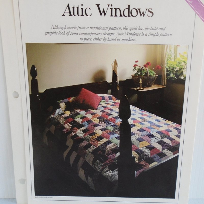 Quilting pattern and actual size template to make the quilt 'Attic Windows'. With info on sizes, colors, how many pieces to make, placement, etc