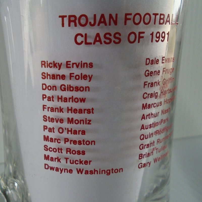 USC University of Southern California beer mug. Honors 1991 football team with names of major players.