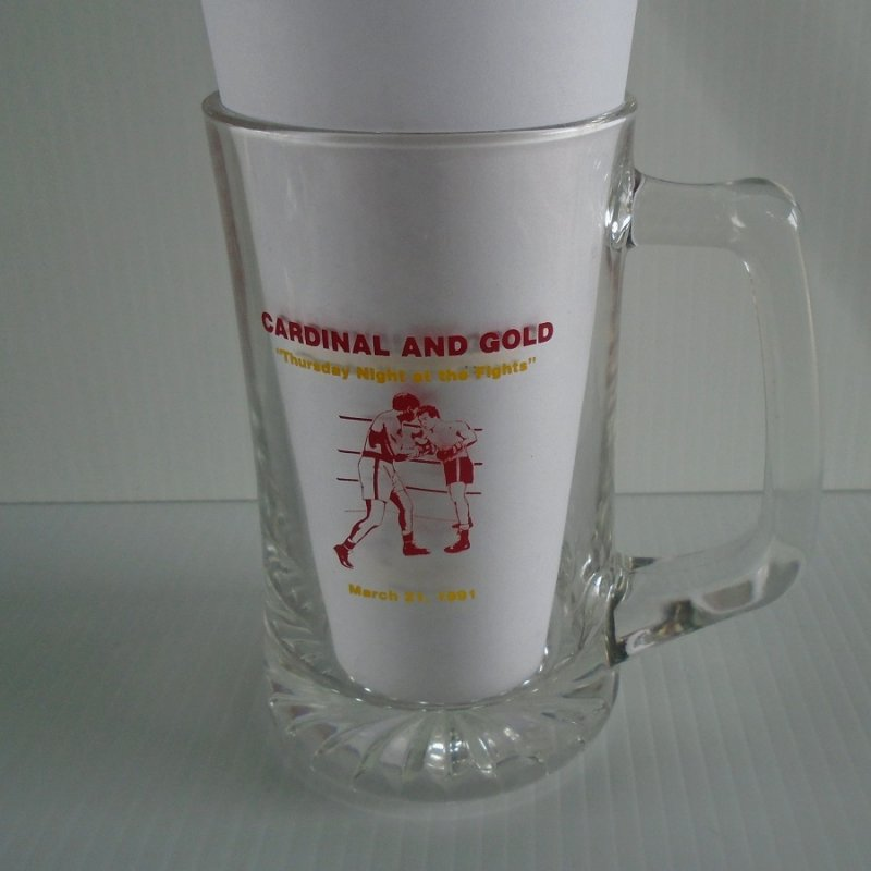USC University of Southern California beer mug. One side honors 1991 football team with names of major players, other side honors boxing.
