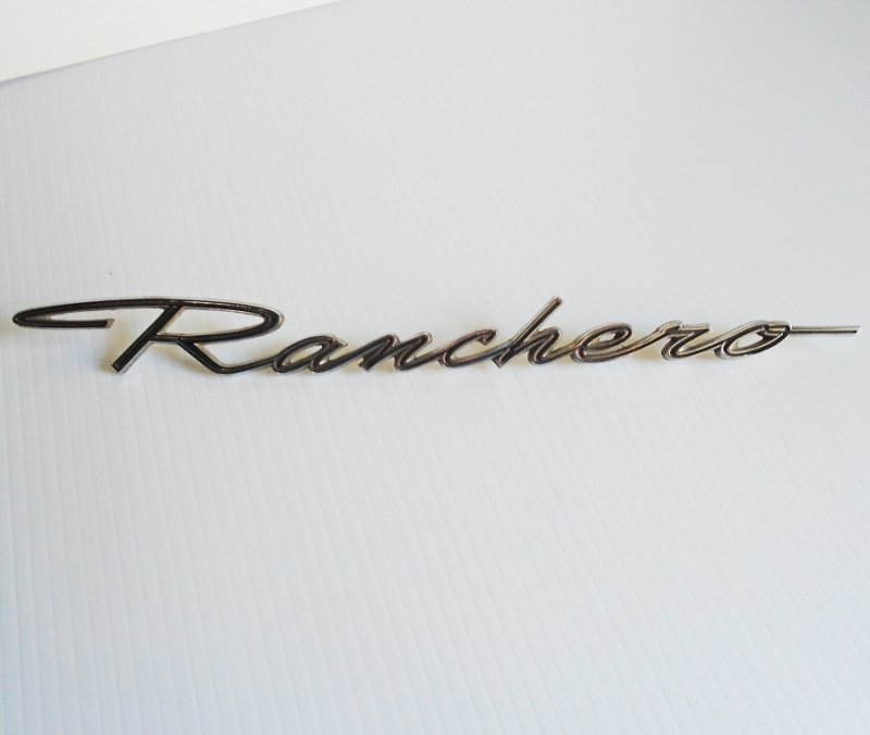 Ford Ranchero vehicle nameplate emblem C6DB-16098-C. Vintage 1960s. 12.5 inches by 1 inch. Estate sale find.