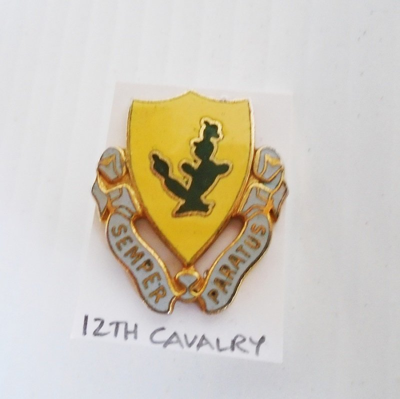 12th US Army Cavalry Semper Paratus DUI insignia pin. This units engagements were in WWII, Vietnam, and Iraq. Estate purchase.