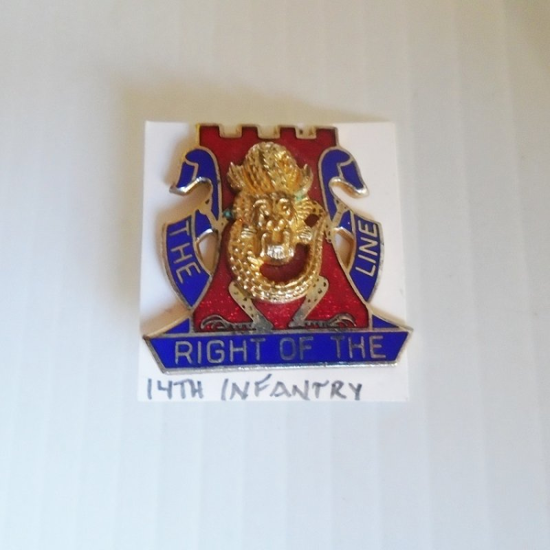 14th US Army Infantry DUI insignia pin. Has 'The Right Of The Line'' Motto. Dates between 1960-1965 timeframe.