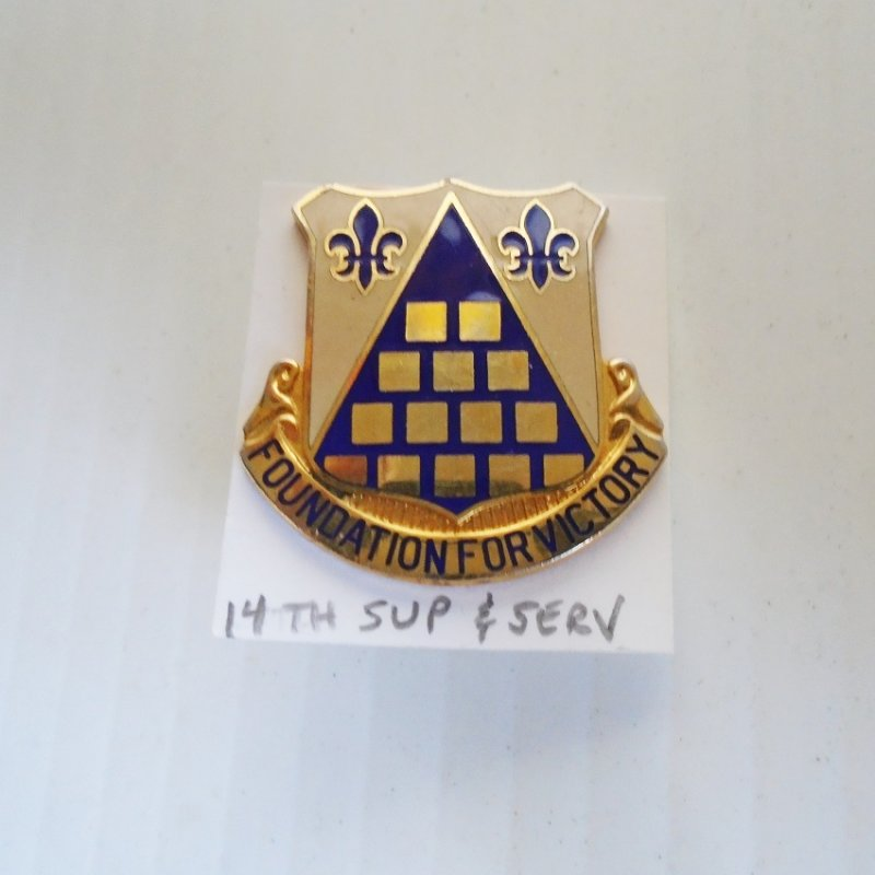 14th US Army Quartermaster Supply & Service 1960s DUI insignia pin. Has 'Foundation For Victory'' Motto. Dates between 1960-1965 timeframe.