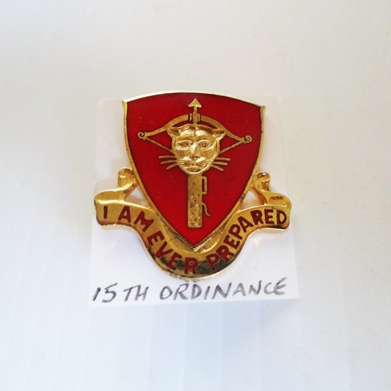 15th US Army Ordinance DUI insignia pin. Has