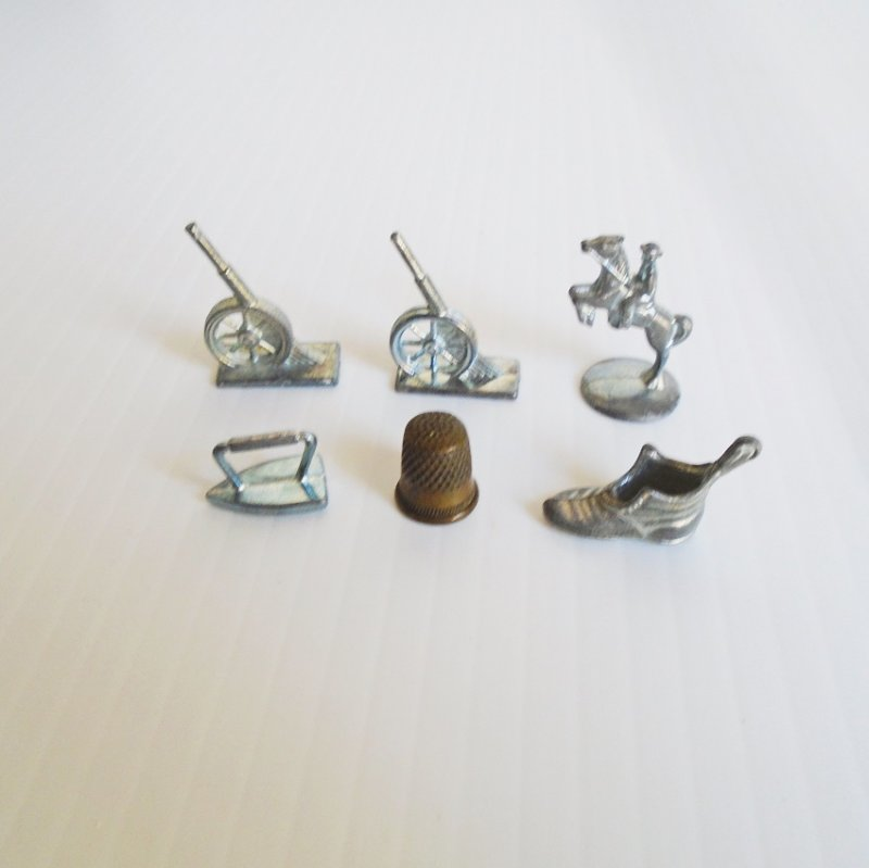 Monopoly tokens. 6 discontinued pcs. Thimble, Iron, Boot, Cowboy, Cannon. Estate find.
