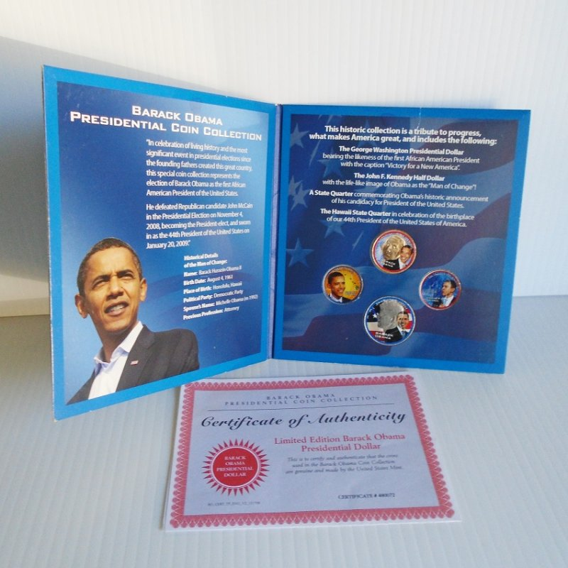 Barack Obama Four Coin Presidential coin set, Dollar, Half Dollar, 2 Quarters with Certificate Of Authenticity for each coin. Estate find.