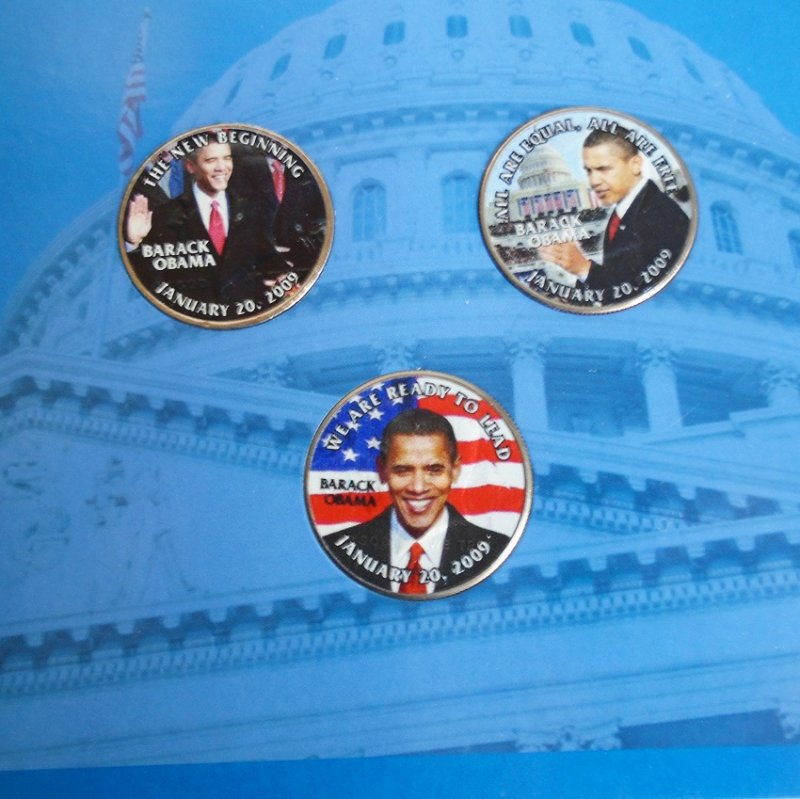 Barack Obama Presidential Inaugural three coin set. All three coins are Kennedy Half Dollars. Includes Certificate Of Authenticity. Estate find.