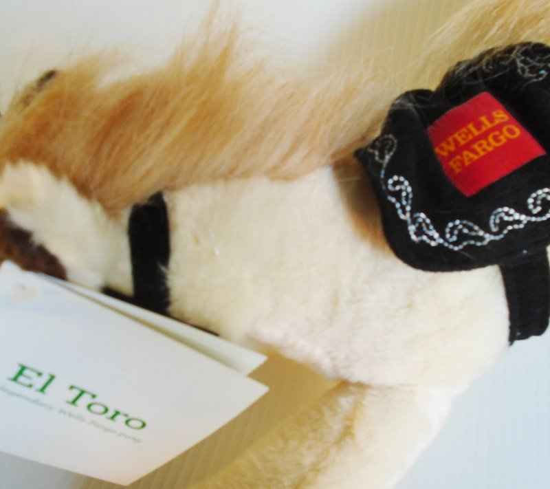 Legendary Wells Fargo horse pony El Toro. Tag dated 2014. From the officially licensed Wells Fargo pony collection.