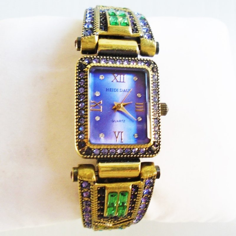 Heidi Daus art deco antiqued rhinestone cuff watch. Estate purchase.