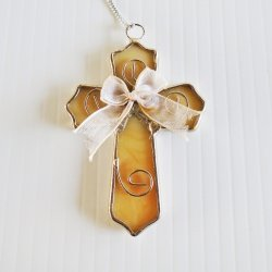 Stained Glass Cross Christmas Ornament