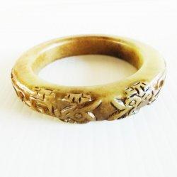Chrysoprase Bangle Bracelet, Asian Design, Very Thick
