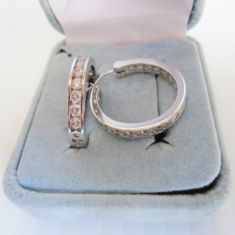 Epiphany 925 Sterling Silver Hoop Earrings with Diamonique CZ Stones. One inch hoop. Estimated from 2004, worn once. Estate purchase.