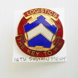 '.16th Army Sustainment DUI pin.'