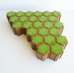 Heroscape 24 Hex Grass Terrain Tile Green on Brown, 5 pieces