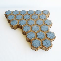Heroscape 24 Hex Rock Terrain Tiles, Blue on Brown, 3 pieces