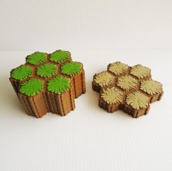 Heroscape 7 Hex Terrain Tiles, 6 grass, 2 sand. 8 pcs total
