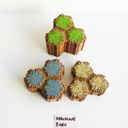 Heroscape 3 Hex Terrain Tiles, Grass, Rock, Sand, 10 pieces