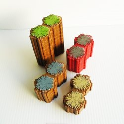 Heroscape 2 Hex Terrain Tiles, Grass Rock Sand Lava, 21 pcs