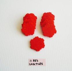 Heroscape Red Molten Lava Terrain Tiles, 11 pcs