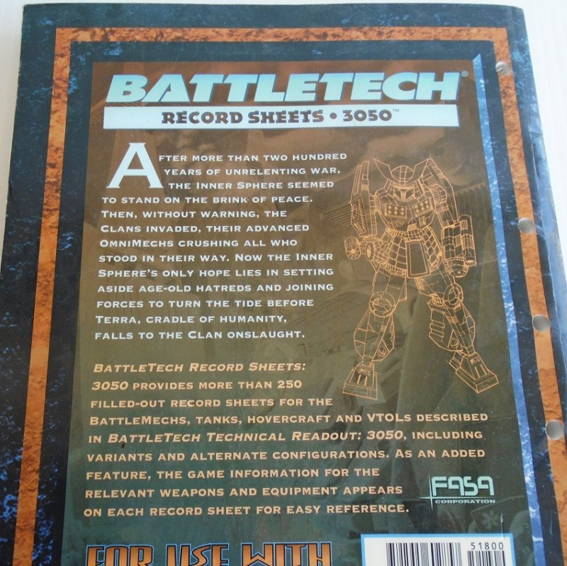 Battletech Record Sheets 3050 book. Each sheet has diagrams that include weapon and equipment references. Approx 250 sheets.