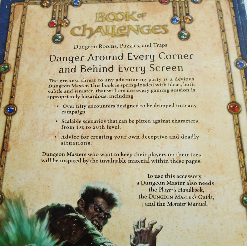 Dungeons & Dragons Book of Challenges. Book has info on rooms, puzzles, and traps. 8.5 by 11 inches with 127 pages.