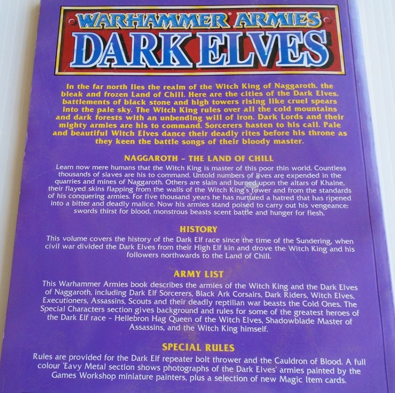 Warhammer Armies Dark Elves supplement book. Rules, characters, battle tactics, army lists, color and black and white pictures. Pre-owned