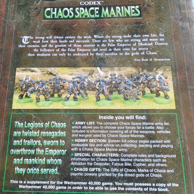 Warhammer 40,000 Codex Chaos Space Marines supplement book from Games Workshop. Characters, weapons, powers, tips and advice. Pre-owned