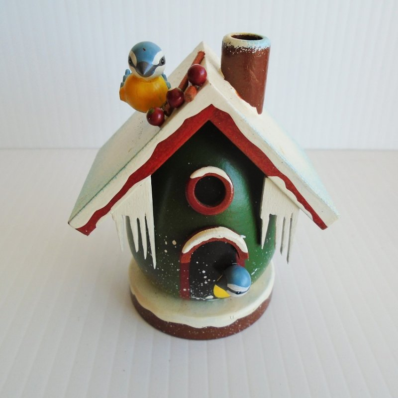 Original Duftl Mannchen Mini Bird House incense burner. 3.5 inch. Made in Germany. Hand painted wood.
