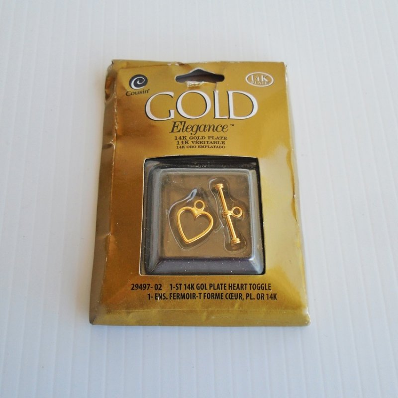 14k gold plate heart toggle bracelet connector clasps. 5 pieces, new in original packages. For jewelry makers or for repair use. 3/8 inch heart.
