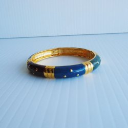 Joan Rivers Signed Enamel Hinged Multi Color Bangle Bracelet