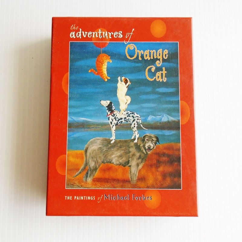 The Adventures of Orange Cat all purpose greeting cards from paintings of Michael Forbes. 20 blank cards and envelopes. Boxed.