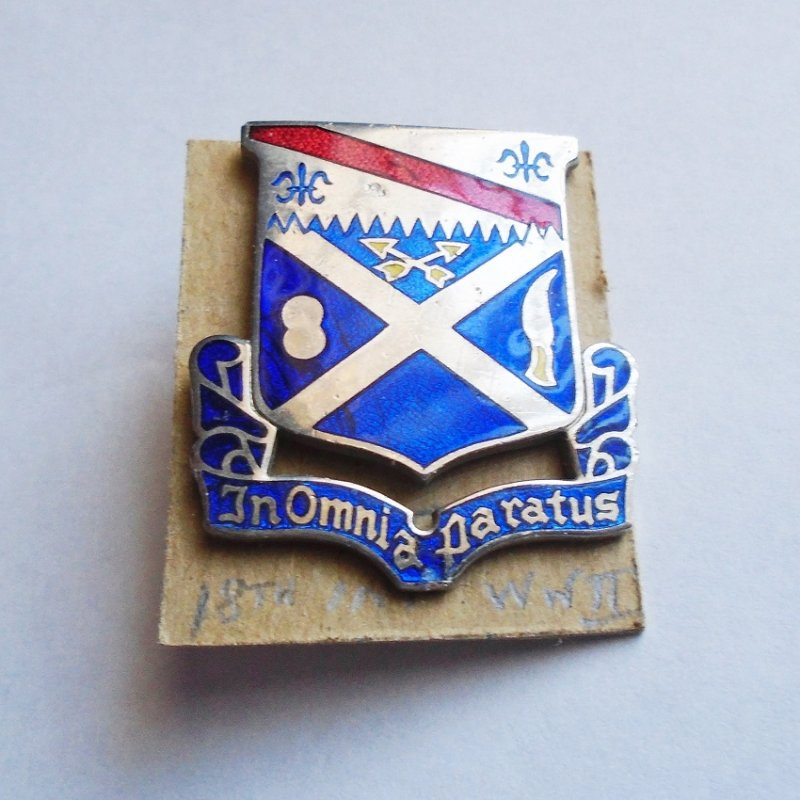 18th U.S. Army Infantry DUI insignia pin. Stated to be WWII time frame. Has 'In Omnia Paratus' motto.