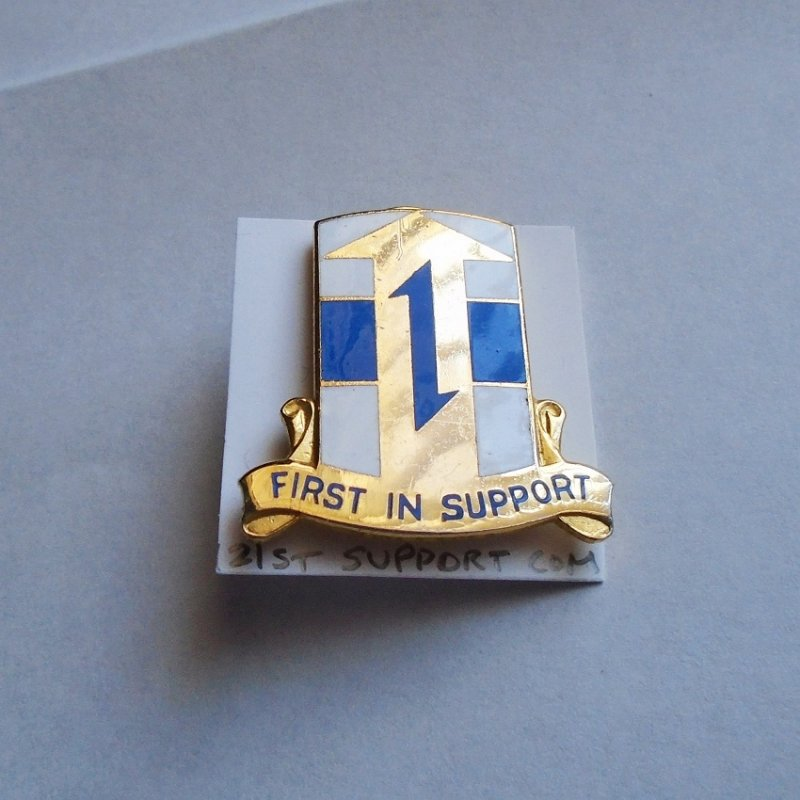 21st U.S. Army Support DUI insignia pin. Has